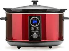 Andrew James Digital Slow Cooker with Timer | Red | 4.5L | 280W