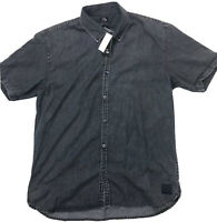 Mens Quiksilver Dark Dreams Short Sleeve Black Button Up Shirt XL Slim Fit NEW
