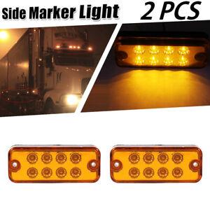 2X Amber LED Boat Truck Trailer Side Marker Light Lamp Turn Signals Light 12/24V