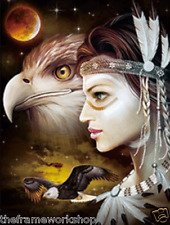 INDIAN GIRLS WITH EAGLE AND WOLVES  - 3D FLIP PICTURE 300mm X 400mm (NEW)