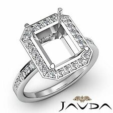 Diamond Engagement Ring 14k White Gold Halo Pave 0.5Ct Emerald Cut Semi Mount