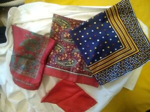Hand rolled Silk Italy Pocket Squares Paisley Fun Excellent Condition + bonus re