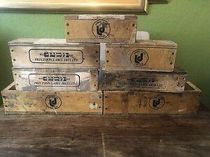 7 x Vintage / Retro Small Industrial Print Rustic Wooden Storage / Display Box's