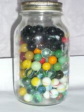 MASON JAR FULL OF VINTAGE MARBLES - UNSORTED