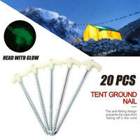 20Pcs Tent Pegs Heavy Duty Screw Steel Ground Camping Stakes luminous Tent Nail