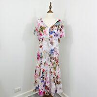 Basler Womens Floral Midi Dress Pink White Romantic Size 16 AU