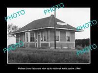 OLD LARGE HISTORIC PHOTO OF WALNUT GROVE MISSOURI, THE RAILROAD DEPOT c1960