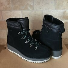 UGG Birch Waterproof Black Suede Wool Lace-up Wedge Shoes Boots Size 6 Womens