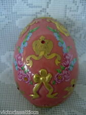 Collectible 96 Hand Painted Jeweled Porcelain Egg - Much Gold - Made in Thailand