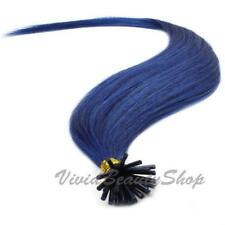 25 Blue Pre Bond I Stick Tip Micro Bead Link Tube Remy Human Hair Extensions 22""