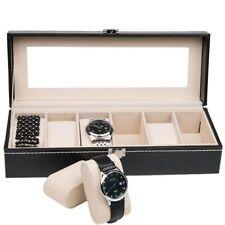 Black 6 Grid Leather Watch Box Display Case Jewelry Bracelet Storage Organizer