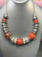 """Vintage Bohemian style Red Silver beaded statement  Necklace 20"""" Chunky"""