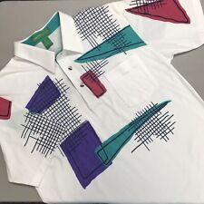 Grand Slam Penguin Polo Shirt Golf Tennis Vintage Men Large White Geo Shapes