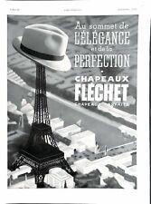 Publicité Chapeaux Fléchet chapelier Tour Eiffel Paris Produit de Beauté de 1937