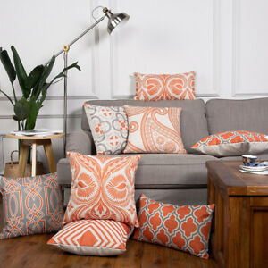 Wholesale Linen Pillow Cover Cushion Cover Vintage Red Orange Grey Geometric