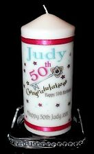 50th Birthday candle with your own special  message beautiful key design