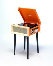 Steepletone SRP1R 16 3 Speed Record Player Turntable Radio USB SD On Legs Orange