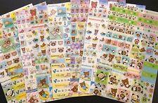 Rilakkuma Panda Otter Stickers - Kawaii Korean Stationery - diary label decal