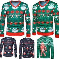 Warm Mens 3D Christmas Tree Printing Xmas T Shirt Long Sleeve Casual Tops Tee BO