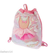 Sequin Ballerina Tutu Dress Drawstring Backpack Dance Bag Ballet Bookbag Pink