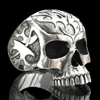 Punk 925 Silver Skull Band Ring Women Men Fashion Wedding Party Jewelry Sz 7-13