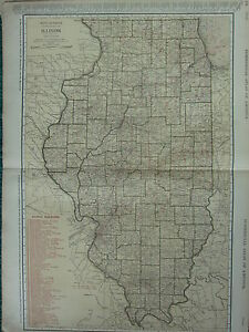 1922 LARGE AMERICA MAP ~ ILLINOIS SHOWING RAILROADS CHICAGO ~ RAND MCNALLY
