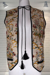 Original Vintage 1960s Embroidered Hippy Waistcoat - XS