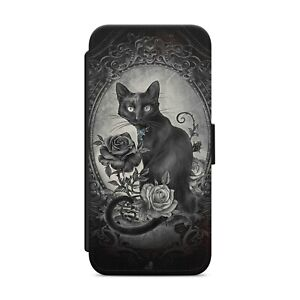 Black Cat Gothic Roses WALLET FLIP PHONE CASE COVER FOR iPhone Samsung      z105