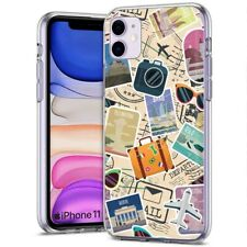 Thin Gel Phone Case for Apple iPhone 11,XS,XR,8 Series,Travel Stickers Print