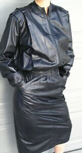 BEGED-OR BLACK LEATHER SUIT - JACKET and SKIRT -  size 6-10