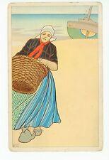 Art-Nouveau Dutch Girl w Basket & Sailboat—Antique AK CPA Artist? <1908