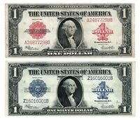 1923 $1 ONE DOLLAR BILL RED SEAL AND 1923 $1 BLUE SEAL SILVER CERTIFICATE !