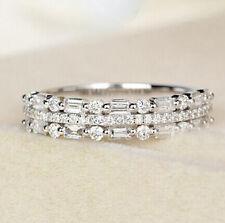 925 Silver Women Gemstone Birthstone Diamond Wedding Engagement Ring Wholesale