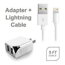 AT&T Apple iPhone 6s Plus USB 2.1 amp Wall Adapter+5 FT 8 Pin Data Cable White
