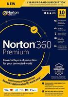 Norton 360 Premium 2020 10 Devices 10 PC Secure VPN Internet Security 2021 Box