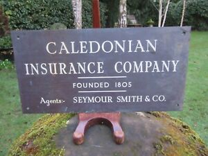 Caledonian Insurance Company Founded 1805 Bronze Plaque Sign Enamel Lettering