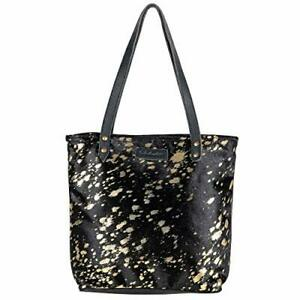 Sixtease Women's Tote Bag - Hairon Leather and Leather Bag - Black Tote Bag