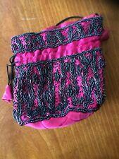 Vintage Hot Pink Satin Black Beaded Cinch Handbag 1920's Replica, GUC