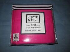 Crown & Ivy Ultra Performance Pop Pink Queen Sheet Set - Nwt