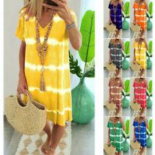 Women Summer Tie-dye Short Sleeve V Neck Midi Dress Loose Beach Casual Sundress