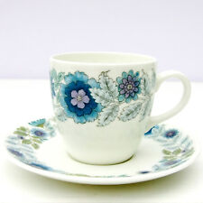 Vintage Retro Wedgwood Clementine Bone China Small Coffee Cup Saucer Duo