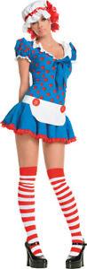 Rag Doll Sexy Adult Women's Costume Mini Polka Dot Apron Fancy Dress Leg Avenue