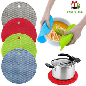 1 x Non-slip Heat Resistant Silicone Kitchen Trivet mat Pan Hot Pot Holder Grey