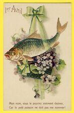 """cpa En relief 1er AVRIL POISSON FISH APRIL FOOL DAY """"Attention aux Arrêtes"""""""