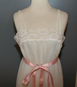 1950s White Pink Lace Midi Nightgown LINGERIE NIGHTIE Negligee Size Small Gotham
