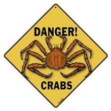Danger Crabs Crossing Sign New 12X12 Metal
