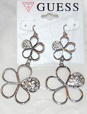 NWT Guess Silver Metal & Clear Rhinestone Dangling Flower Earrings