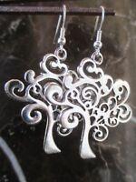 Tibetan Silver Tree of Life Handcrafted Artisan Earrings .925 Sterling Ear Wires