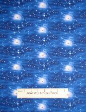 Landscape Medley #2013 Midnight Moon Stars Night Lunar Blue Cotton Fabric YARD