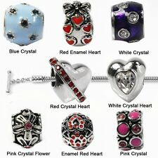 De Buman Fashion Heart Flower and Crystal European Beads or Charm Bracelet